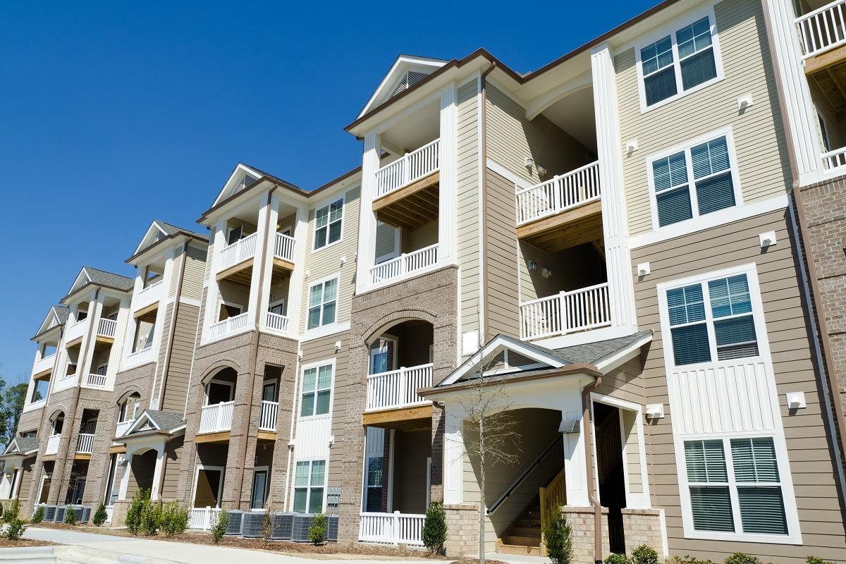 Apartment buildings in a suburban area