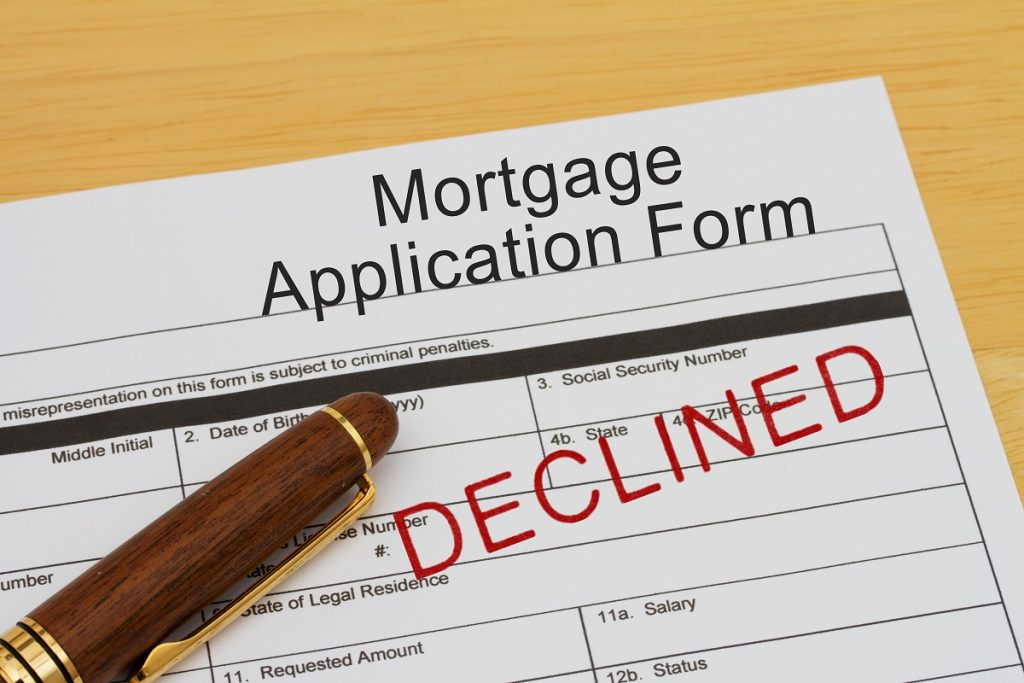 Declined mortgage application form