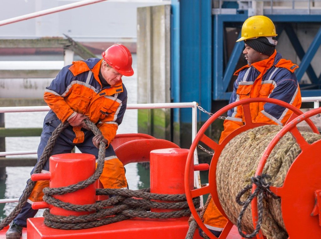 Mariners on board a ship