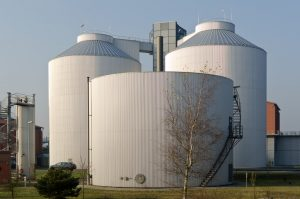 Silos in a plant
