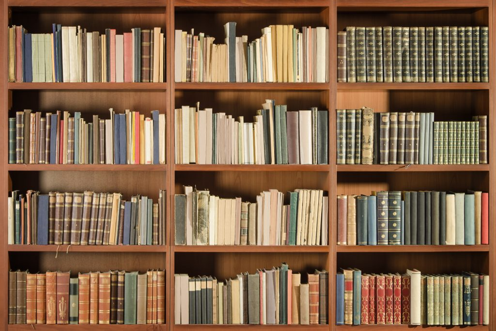 Old books in shelves