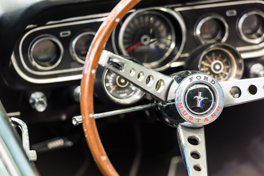 Steering wheel of a classic ford mustang