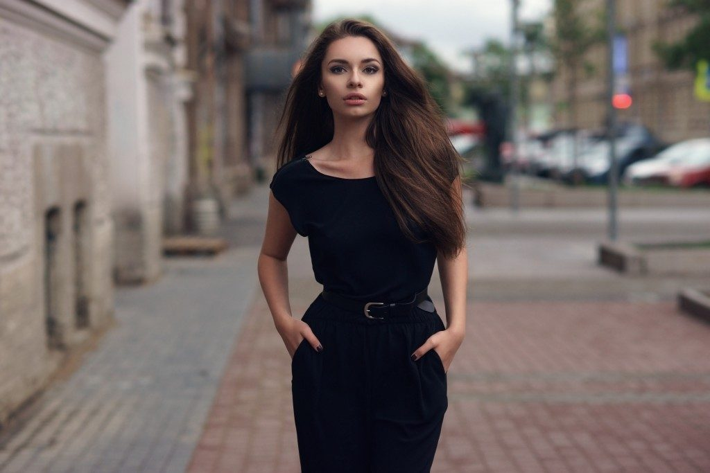 Woman wearing a black dress