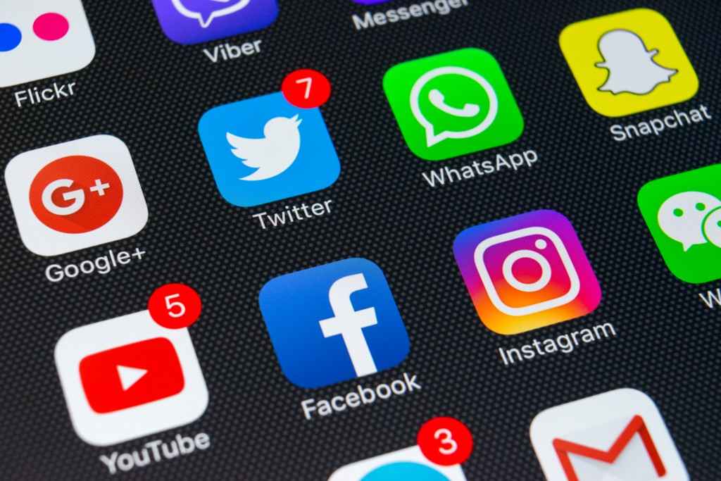 social media icons on phone's screen