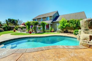 Backyard pool of a big home