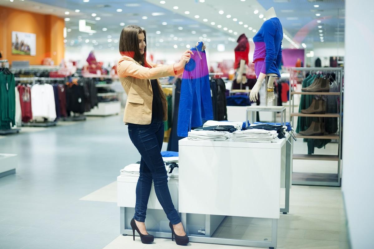 girl checking clothes