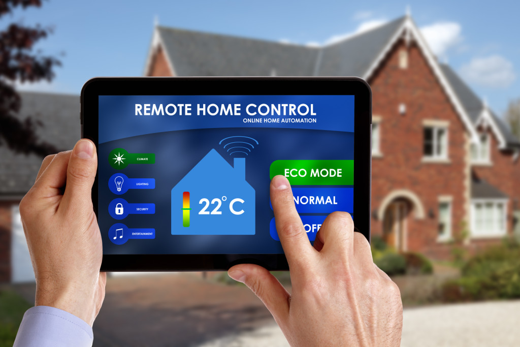 smart energy controller or remote home control online home automation system on a digital tablet
